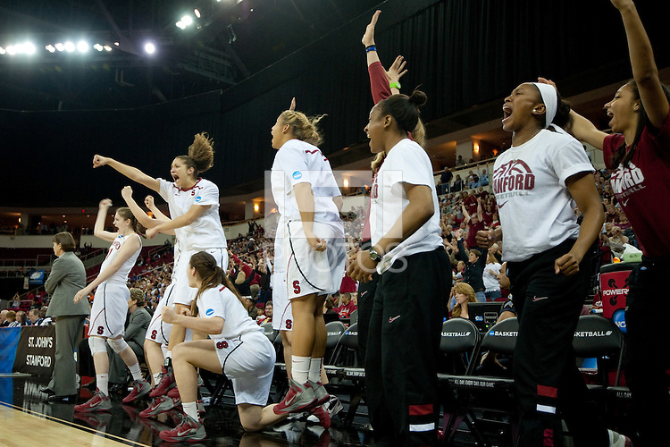 FRESNO, CA--The Stanford Cardinal celebrate a crucial possession en route to a 81-69 win over Duke at the Save Mart Center for the West Regionals Championship of the 2012 NCAA Championships. The Cardinal advances to the Final Four in Denver, facing Baylor in the semifinals.