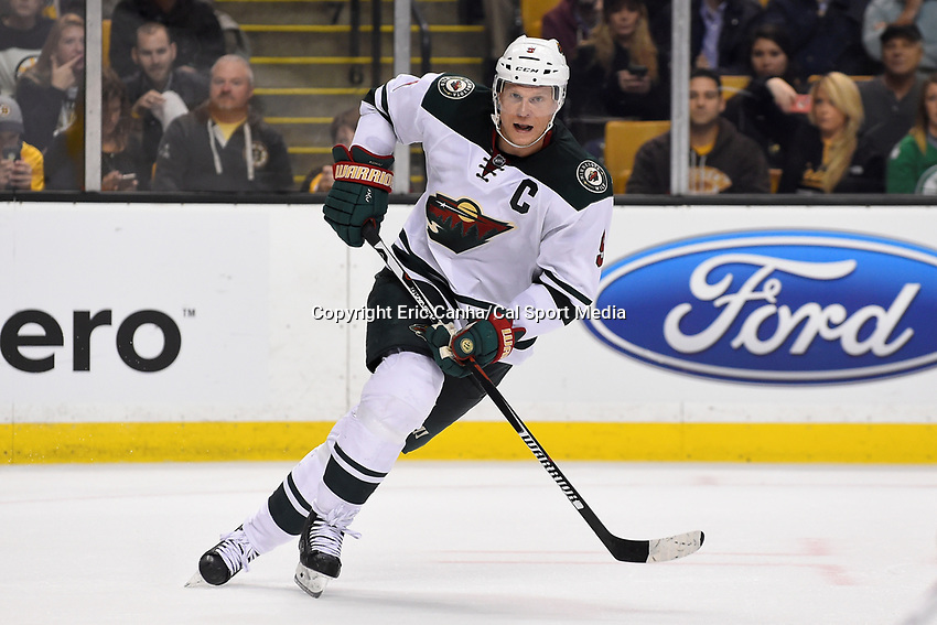 Thursday, November 19, 2015: Minnesota Wild center Mikko Koivu (9) in game action during the National Hockey League game between the Minnesota Wild and the Boston Bruins held at TD Garden, in Boston, Massachusetts. Eric Canha/CSM