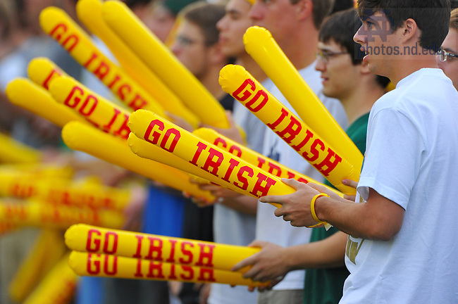 Aug. 22, 2011; Fans at the Men's Soccer exhibition game against Creighton were given Thunder Stix as part of a promotion to benefit Grassroot Soccer...Photo by Matt Cashore/University of Notre Dame