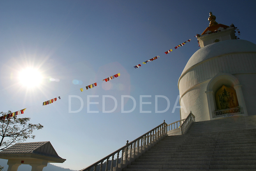 The World Peace Pagoda Buddhist Stupa near Pokhara, Nepal.