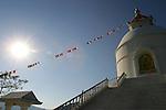 The World Peace Pagoda Buddhist Stupa near Pokhara, Nepal.