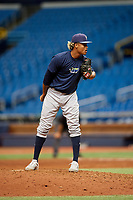 Jhonleider Salinas (31) looks in for the sign during the Tampa Bay Rays Instructional League Intrasquad World Series game on October 3, 2018 at the Tropicana Field in St. Petersburg, Florida.  (Mike Janes/Four Seam Images)