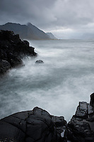 Stormy sea and rugged coastline, Lofoten islands, Norway