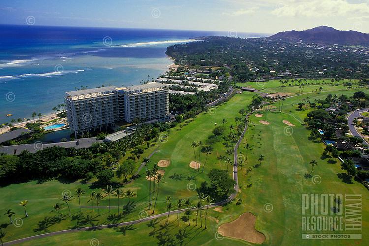 Aerial of the Kahala Mandarin Oriental hotel and surrounding golf course, Island of Oahu