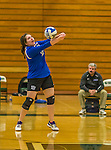1 November 2015: Yeshiva University Maccabee Middle Blocker Marissa Almoslino, a Junior from Seattle, WA, bumps against the Saint Joseph College Bears at SUNY Old Westbury in Old Westbury, NY. The Bears shut out the Maccabees 3-0 in NCAA women's volleyball, Skyline Conference play. Mandatory Credit: Ed Wolfstein Photo *** RAW (NEF) Image File Available ***