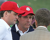 28 SEP 12  Phil Mickelson and Keegan Bradley meet the press after Fridays foresome and four ball matches  at The 39th Ryder Cup at The Medinah Country Club in Medinah, Illinois.