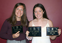 RICK PECK/SPECIAL TO MCDONALD COUNTY PRESS<br /> Lady Mustang Soccer Awards - Alison Nicoletti (JV Character Award) and Baylee Payne (Varsity Character Award and Four-Year Commitment). Not present: Leslie Yousey (Varsity Character Award), Esmer Estrada (Four-Year Commitment), Lexie Kitlen (Four-Year Commitment), Nikki Salas (Four-Year Commitment) and Karen Gasca (Four-Year Commitment).