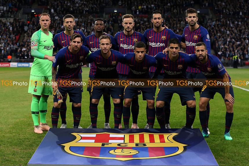 FC Barcelona line up before Tottenham Hotspur vs FC Barcelona, UEFA Champions League Football at Wembley Stadium on 3rd October 2018