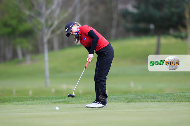 Shannon Stevie McWilliam (SCO) on the 12th green during Round 3 of the Irish Girl's Open Stroke Play Championship at Roganstown Golf &amp; Country Club on Sunday 17th April 2016.<br /> Picture:  Thos Caffrey / www.golffile.ie