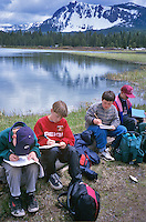 Fifth grade students taking notes at Paulina Lake, Oregon for Cascade Science School.