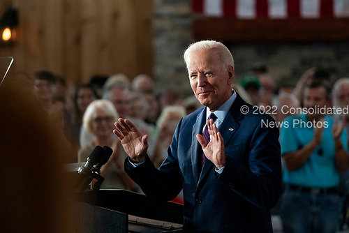 2020 Democratic Presidential candidate, Joe Biden, speaks at a campaign event in Burlington, Iowa on Wednesday, August 7, 2019. Biden is kicking off a 4 day tour of Iowa. Credit: Alex Edelman / CNP