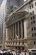 Exterior of the New York Stock Exchange on Wall Street during Black Monday, when stock markets around the world crashed.