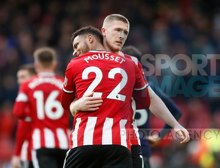 John Lundstram of Sheffield Utd celebrates scoring the winning goal with Lys Mousset of Sheffield Utd during the Premier League match at Bramall Lane, Sheffield. Picture date: 9th February 2020. Picture credit should read: Simon Bellis/Sportimage