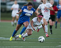 In a National Women's Soccer League Elite (NWSL) match, the Boston Breakers defeated the FC Kansas City, 1-0, at Dilboy Stadium on August 10, 2013.  Boston Breakers forward Sydney Leroux (2) breaks away from FC Kansas City midfielder Desiree Scott (11).