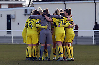 Oxford United ladies huddle before Tottenham Hotspur Ladies vs Oxford United Women, FA Women's Super League FA WSL2 Football at Theobalds Lane on 11th February 2018