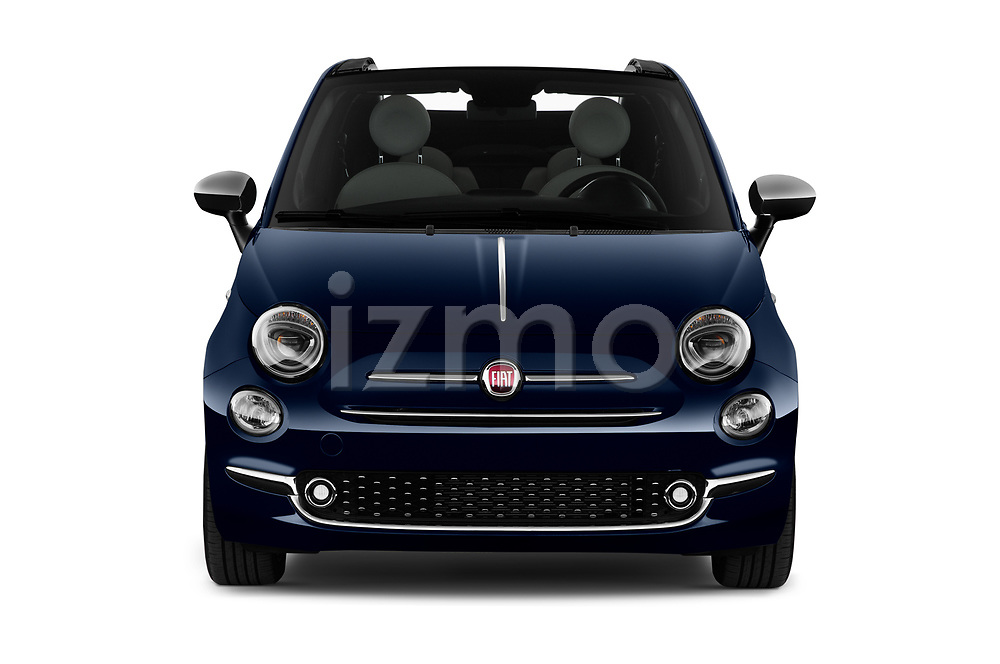 Car photography straight front view of a 2020 Fiat 500C-HYBRID S8-Star 2 Door Convertible Front View