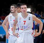 Serbia's Bogdan Bogdanovic and Nikola Kalinic reacts after European championship semi-final basketball match between Serbia and Lithuania on September 18, 2015 in Lille, France  (credit image & photo: Pedja Milosavljevic / STARSPORT)