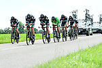 Bora-Hansgrohe in action during Stage 3 of the 2018 Criterium du Dauphine 2018 a Team Time Trial running 35km from Pont de Vaux to Louhans Chateaurenaud, France. 6th June 2018.<br /> Picture: ASO/Alex Broadway | Cyclefile<br /> <br /> <br /> All photos usage must carry mandatory copyright credit (&copy; Cyclefile | ASO/Alex Broadway)