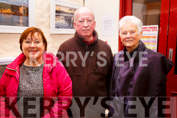 Attending the opening night of the Kerry Drama Festival in the Ivy Leaf in Castleisland on Sunday night.<br /> L-r, Pat O&rsquo;Connor (Ballybunion), Noel Keenan (Listowel) and Joan Quinlan (Ballybunion).