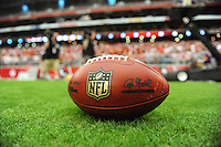 Sept. 13, 2009; Glendale, AZ, USA; Detailed view of an NFL football during the game between the Arizona Cardinals against the San Francisco 49ers at University of Phoenix Stadium. San Francisco defeated Arizona 20-16. Mandatory Credit: Mark J. Rebilas-