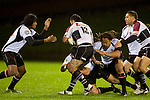 Ahsee Tuala moves in to help Siale Piutau and Tana Umaga tackle Brendon Watt. Counties Manukau Steelers pre season ITM Cup game against North Harbour played at Bayer Growers Stadium Pukekohe on Wednesday July 21st 2010..North Harbour won 22 - 21.