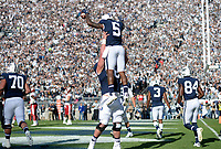 STATE COLLEGE, PA - SEPTEMBER 30:  Penn State WR DaeSean Hamilton (5) is lifted up and celebrates after catching his first of three touchdowns during the game. Hamilton also became the Penn State all-time receptions leader as well. The Penn State Nittany Lions defeated the Indiana Hoosiers 45-14 on September 2, 2017 at Beaver Stadium in State College, PA. (Photo by Randy Litzinger/Icon Sportswire)
