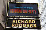 Theatre Marquee: 'Lewis Black - Running on Empty' at the Richard Rodgers Theatre on October 17, 2012 in New York City.