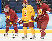 Kyle Bonis (FSU - 28), Travis Ouellette (FSU - 9), Aaron Schmit (FSU - 5) - The Ferris State University Bulldogs practiced on Friday, April 6, 2012, during the 2012 Frozen Four at the Tampa Bay Times Forum in Tampa, Florida.