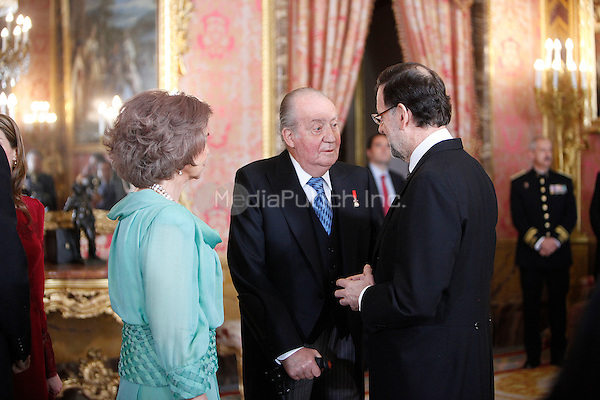 King Juan Carlos of Spain and Prime Minister of Spain Mariano Rajoy attends the reception of the diplomatic corps in Spain at Palacio Real. January 23, 2013. (ALTERPHOTOS/Caro Marin) /NortePhoto /MediaPunch Inc. ***FOR USA ONLY***