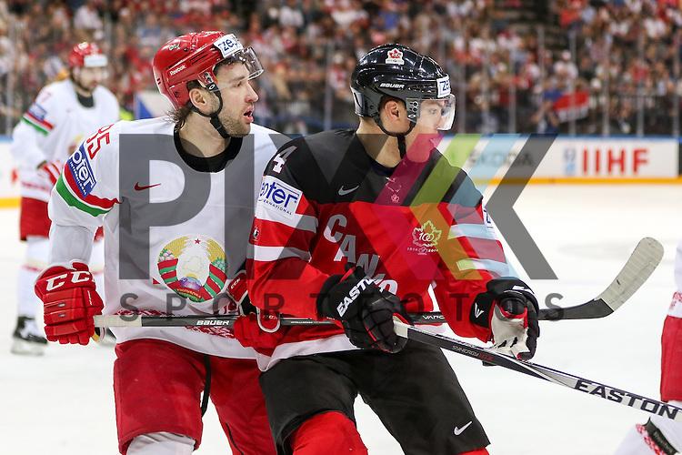 Belarus Volkov, Artyom (Nr.85)(Avangard Omsk) im Zweikampf mit Canadas Hall, Taylor (Nr.4)  im Spiel IIHF WC15 Canada vs. Belarus.<br /> <br /> Foto &copy; P-I-X.org *** Foto ist honorarpflichtig! *** Auf Anfrage in hoeherer Qualitaet/Aufloesung. Belegexemplar erbeten. Veroeffentlichung ausschliesslich fuer journalistisch-publizistische Zwecke. For editorial use only.