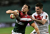 4th November 2017, Sydney Football Stadium, Sydney, Australia; Rugby League World Cup, England versus Lebanon; John Bateman of England grabs hold of Mitchell Moses of Lebanon
