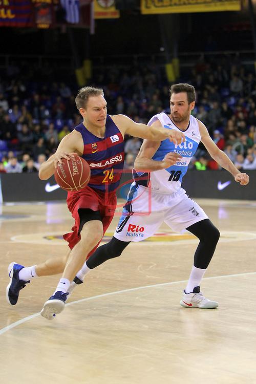 League ACB-ENDESA 2016/2017 - Game: 16.<br /> FC Barcelona Lassa vs Rio Natura Monbus Obradoiro: 100-76.<br /> Brad Oleson vs Txemi Urtasun.