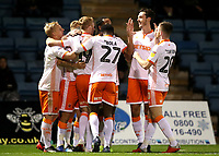 Blackpool's Nathan Delfouneso celebrates scoring the opening goal with his fellow team mates <br /> <br /> Photographer Rachel Holborn/CameraSport<br /> <br /> The EFL Sky Bet League One - Gillingham v Blackpool - Tuesday 6th November 2018 - Priestfield Stadium - Gillingham<br /> <br /> World Copyright &copy; 2018 CameraSport. All rights reserved. 43 Linden Ave. Countesthorpe. Leicester. England. LE8 5PG - Tel: +44 (0) 116 277 4147 - admin@camerasport.com - www.camerasport.com
