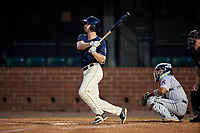 Mobile BayBears Brandon Sandoval (8) at bat during a Southern League game against the Jacksonville Jumbo Shrimp on May 7, 2019 at Hank Aaron Stadium in Mobile, Alabama.  Mobile defeated Jacksonville 2-0.  (Mike Janes/Four Seam Images)