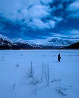 Walking out to Eklutna Lake, Alaska.