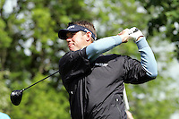 Lee Westwood tees off on the 5th hole during the third round of the Irish Open on 19th of May 2007 at the Adare Manor Hotel & Golf Resort, Co. Limerick, Ireland. (Photo byEoin Clarke/NEWSFILE).