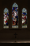 Stained glass window church of Saint Nicholas, Wilsford, Wiltshire, Adoration of Magi, Deposition of Jesus Christ after his death, the three Marys, by H. Hughes, 1871