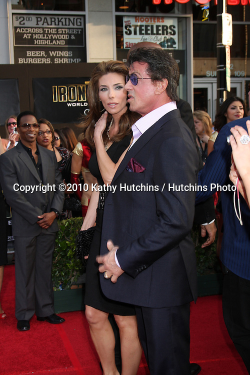 "Sylvester Stallone & Wife Jennifer Flavin.arrives at  the ""Iron Man 2"" Premiere.El Capitan Theater.Los Angeles, CA.April 26, 2010.©2010 Kathy Hutchins / Hutchins Photo..."