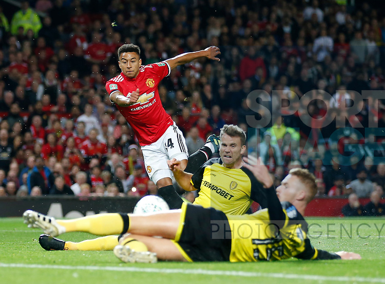 Jesse Lingard of Manchester United shoots during the Carabao Cup Third Round match at the Old Trafford Stadium, Manchester. Picture date 20th September 2017. Picture credit should read: Simon Bellis/Sportimage