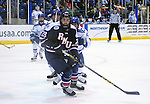 February 20, 2016 - Colorado Springs, Colorado, U.S. -   Robert Morris forward, Matt Cope #28, in action during an NCAA ice hockey game between the Robert Morris University Colonials and the Air Force Academy Falcons at Cadet Ice Arena, United States Air Force Academy, Colorado Springs, Colorado.  Air Force defeats Robert Morris 4-1