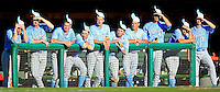 Members of the North Carolina baseball team put on rally caps to urge their teammates to break a 3-3 tie with Clemson in the ninth inning Saturday. The Tar Heels scored three runs in the inning to win 6-3.