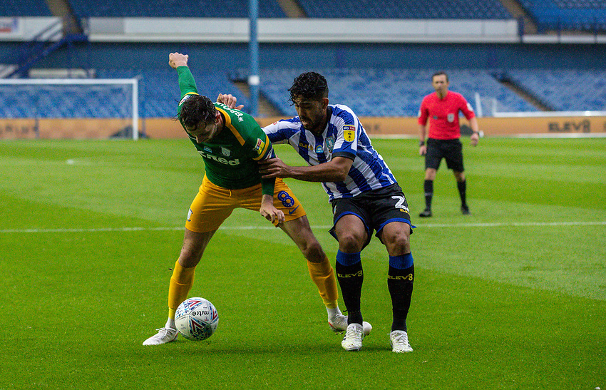 Preston North End's Alan Browne holds off the challenge from Sheffield Wednesday's Massimo Luongo<br /> <br /> Photographer Alex Dodd/CameraSport<br /> <br /> The EFL Sky Bet Championship - Sheffield Wednesday v Preston North End - Wednesday 8th July 2020 - Hillsborough - Sheffield<br /> <br /> World Copyright © 2020 CameraSport. All rights reserved. 43 Linden Ave. Countesthorpe. Leicester. England. LE8 5PG - Tel: +44 (0) 116 277 4147 - admin@camerasport.com - www.camerasport.com