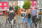 Fundraising Treck: Kentuckey born John Fox an his Irish wife Hazel who are trecking from Mallen Head to Mizen Head on their mule Job in aid of Barretstown Caslte pictured in Listowel on Tuesday with Racheal Collins, Niamh Enright and PJ Collins all from Listowel.