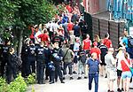 27.06.2020, Stadion an der Wuhlheide, Berlin, GER, DFL, 1.FBL, 1.FC UNION BERLIN  VS. Fortuna Duesseldorf , <br /> DFL  regulations prohibit any use of photographs as image sequences and/or quasi-video<br /> im Bild Unionfans (1.FC Union Berlin)  am Zaun auf der Waldseite, Polizei<br /> <br /> <br />      <br /> Foto © nordphoto / Engler