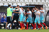 Turkey U21's  management team and players congratulate Kubilay Kanatsizkus (No 9) after scoring their second goal during Portugal Under-19 vs Turkey Under-21, Tournoi Maurice Revello Football at Stade Parsemain on 3rd June 2018