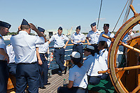 New officers training aboard the US Coast Guard barque Eagle, at anchor in New London, Connecticut