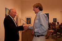 John Treanor and Joel Kessler, Naples Art Association Executive Director, after he won a $5,000 scholarship to the Ringling College of Art and Design in the Naples Art Association's at The von Liebig Art Center's 40th Annual Jade N. Riedel Scholarship Competition, Naples, April 15, 2011.  Photo by Debi Pittman Wilkey