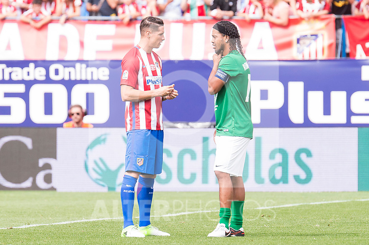Atletico de Madrid Legends's Fernando Torres and World Legend's Ronaldinho during friendly match to farewell  to Vicente Calderon Stadium in Madrid, May 28, 2017. Spain.<br /> (ALTERPHOTOS/BorjaB.Hojas)