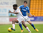 St Johnstone v Inverness Caley Thistle...08.08.15...SPFL..McDiarmid Park, Perth.<br /> Andrea Mutombo and Joe Shaughnessy<br /> Picture by Graeme Hart.<br /> Copyright Perthshire Picture Agency<br /> Tel: 01738 623350  Mobile: 07990 594431