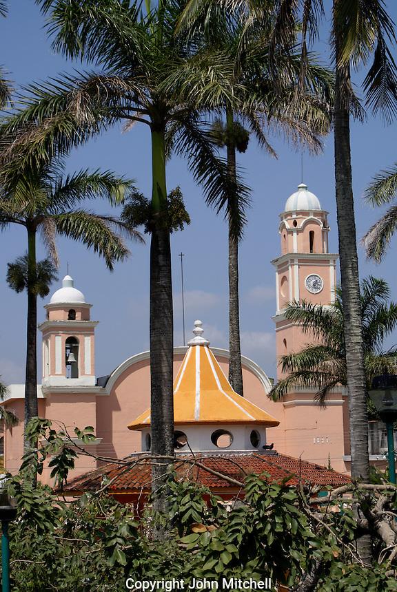 Church and main square in Santiago Tuxtla, Veracruz, Mexico